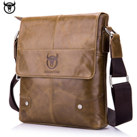 100% Genuine Leather BULLCAPTAIN Men's Messenger bag vintage cow leather shoulder bag for male fashion crossbody bag Handbags