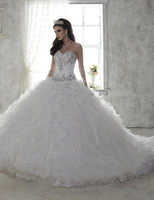 Don S Bridal 2016 White Quinceanera Dress For 15 Year Girl Ball Gown Sweetheart Ruffled Quinceanera
