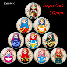 Russian Sleeve Doll Fridge Magnet Set 10PCS 30MM Cartoon Refrigerator Magnets Magnetic Stickers Home Decor Tourist Souvenirs