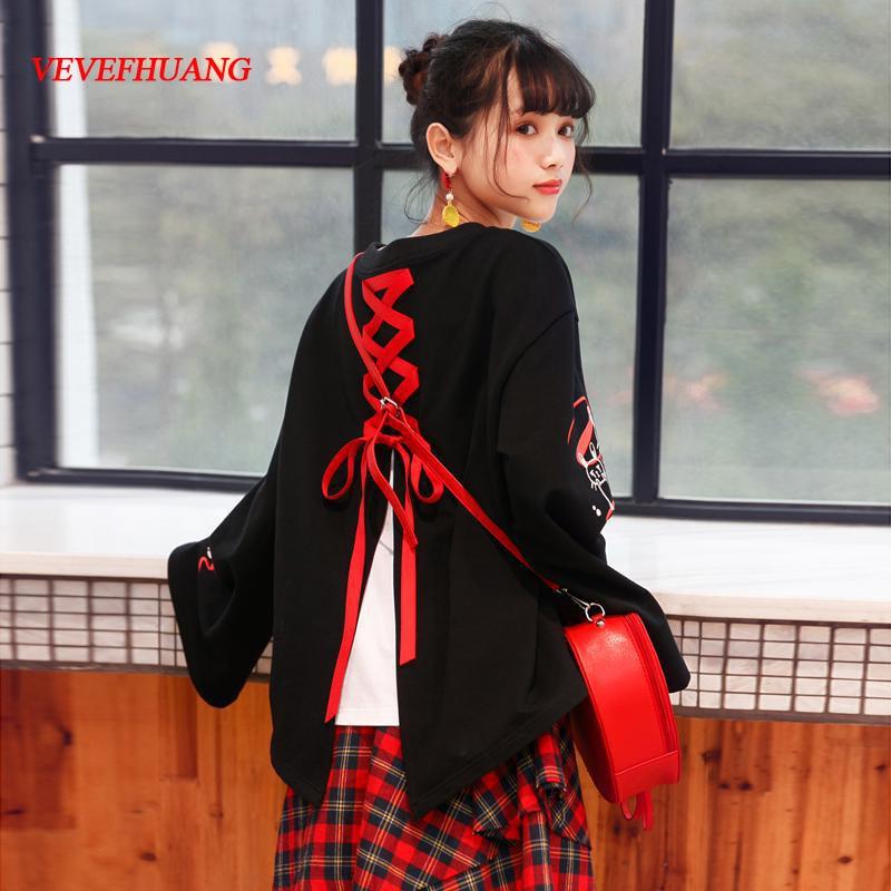 2018 japonais Harajuku nouveau Design Kawaii femme t-shirts mignon mode lapin graphique hauts à lacets Street Wear T-Shirt noir
