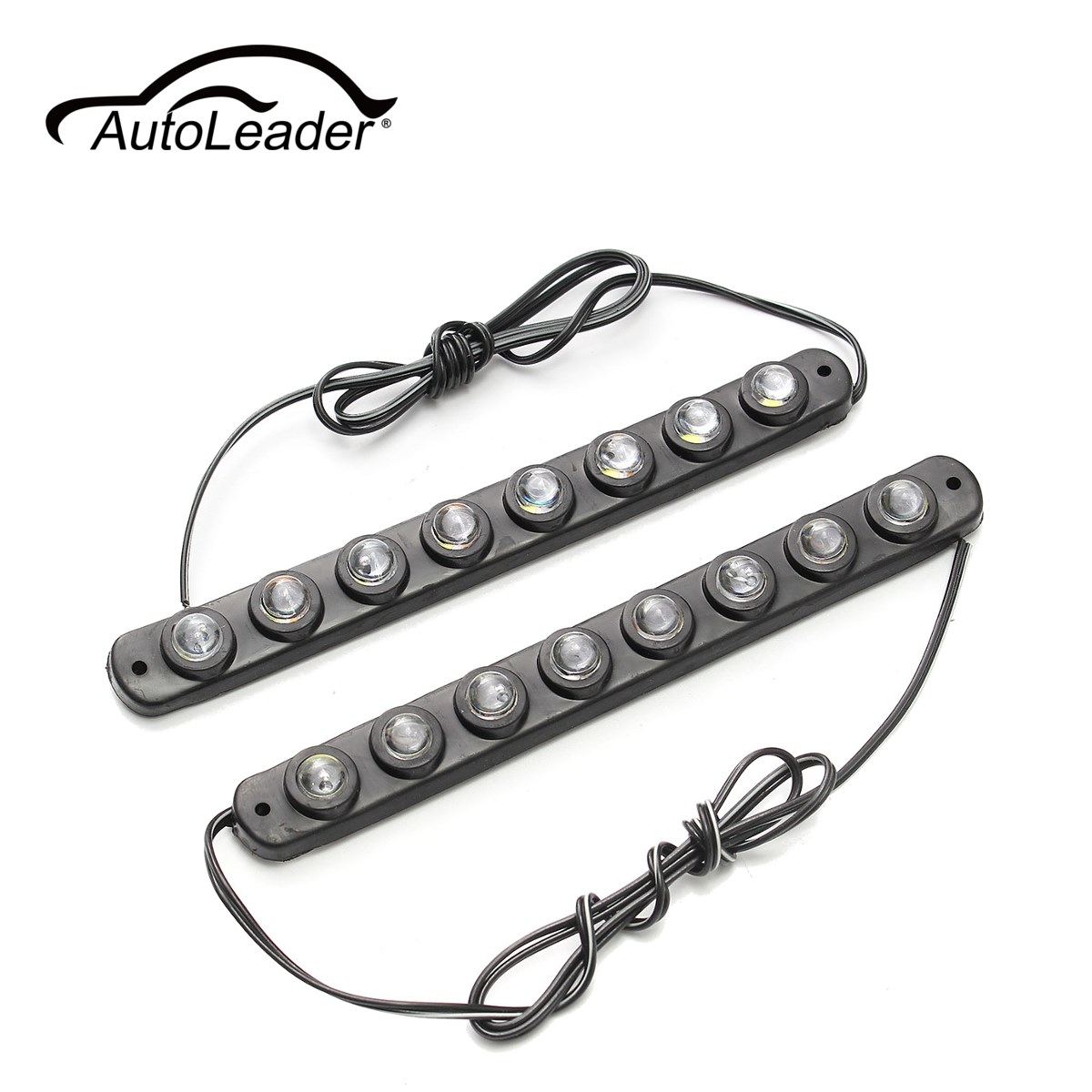 AutoLeader 1Pair 8 LED Universal Car Trunk Daytime Running Light 12V DRL Fog Lamp Waterproof 6000-6500K Automobile Lamp
