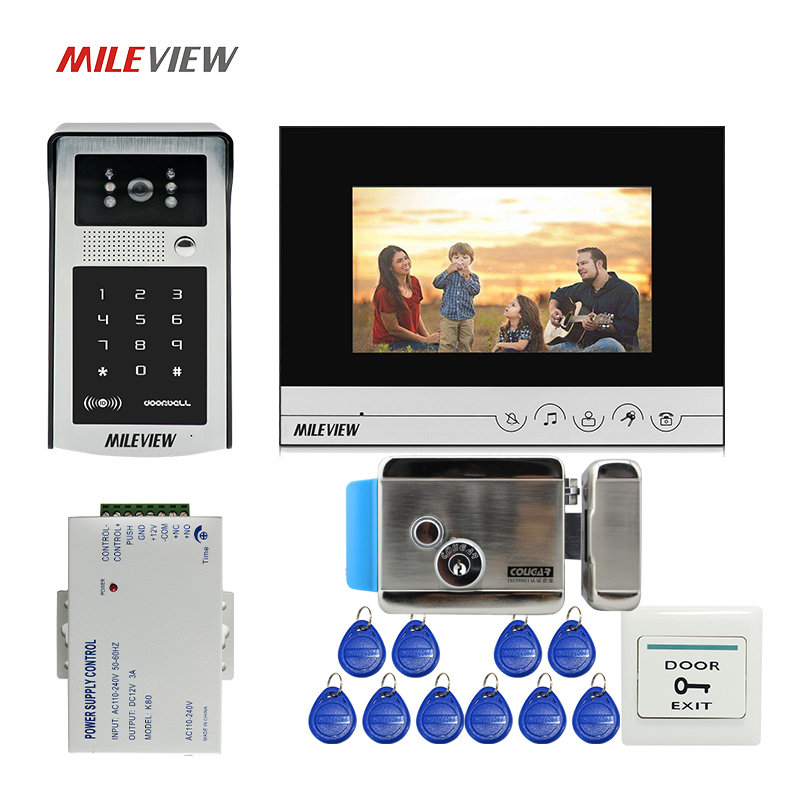 Free Shipping 7 LCD Monitor Video Intercom Door Phone System Outdoor RFID Code Keypad Doorbell Camera Electric Mechanical Lock free shipping 7 lcd video door phone intercom system 2 screens rfid access code keypad password camera electric control lock