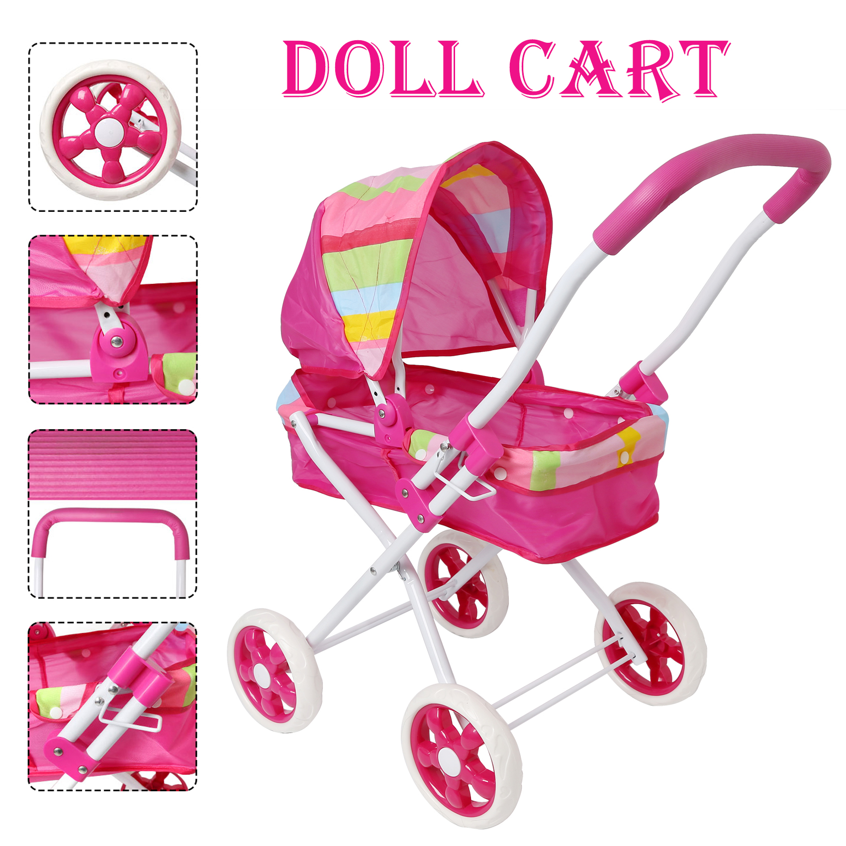 Furniture Toys Pink My First Doll Stroller Foldable Stroller for Doll with Swivel Wheels and Hood Pretended Play Toy for KidFurniture Toys Pink My First Doll Stroller Foldable Stroller for Doll with Swivel Wheels and Hood Pretended Play Toy for Kid