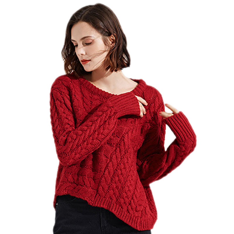 2018 new Loose sweater women irregular sweater autumn fashion Long sleeves Pullovers Round neck knitted sweater clothing ll724 Price $44.80
