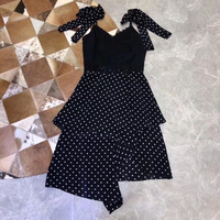 Vintage Polka Dot Dress with V neck Collar Summer Dress Silk 2019 Spaghetti Strap Dress Black Long Women Dress with Bow