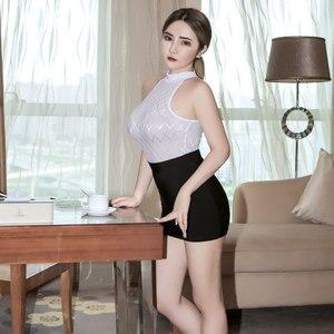 Image 3 - Sexy Women Tight Pencil Cute Skirt Ice Silk See Through Micro Mini Skirt Transparent Night Club Skirt Fantasy Erotic Wear F7