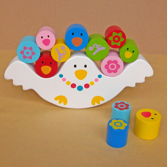 Promotion Baby Children Wooden Early Learning Parent-child Bird Balance Balancing Frame Building Blocks Educational Toys KB03