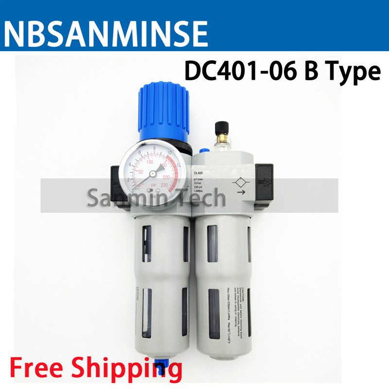NBSANMINSE DC 201 M5 1/8 1/4 3/8 1/2 3/4 1 Air Compressor Oil Lubricator Water Separator Trap Filter Regulator Gauge
