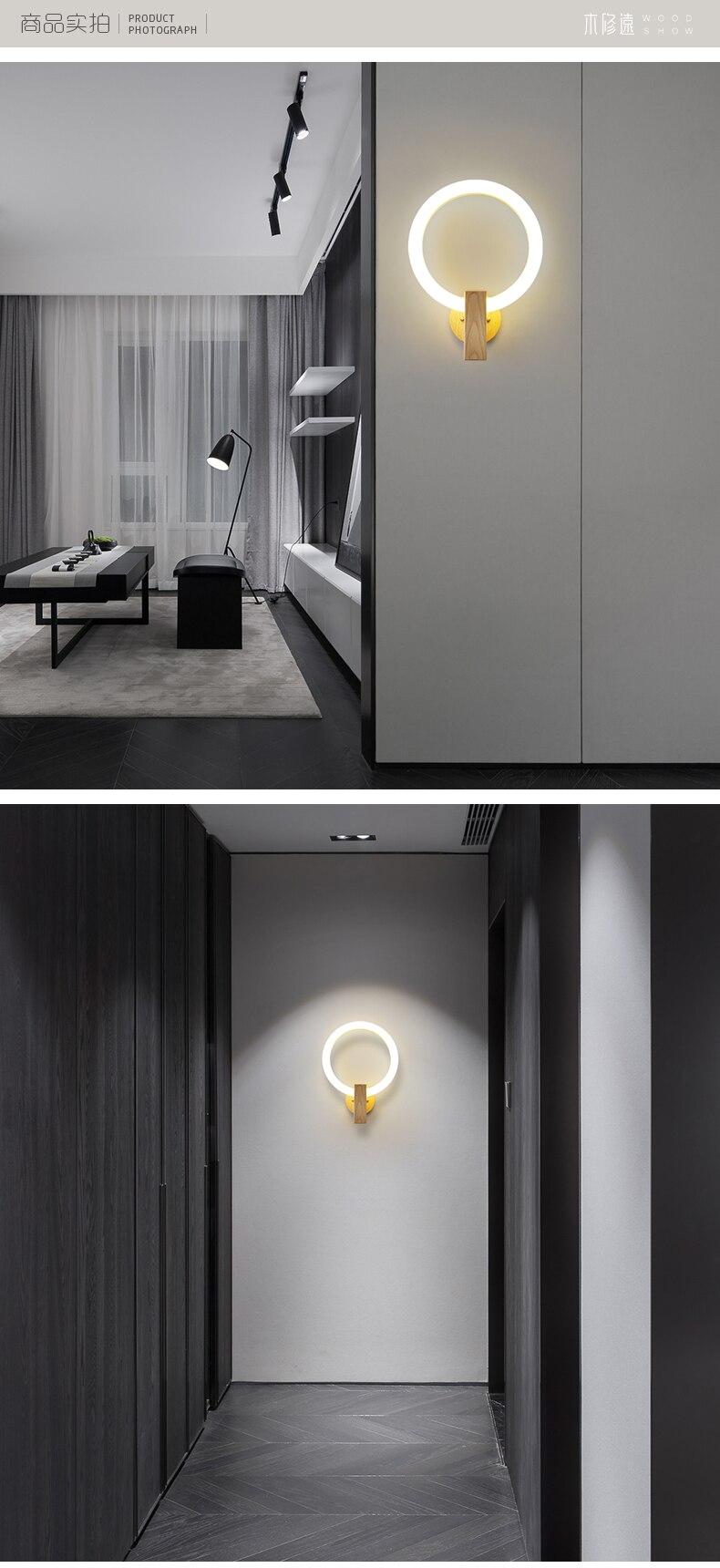Nordic madeira lâmpada de parede acrílico redondo