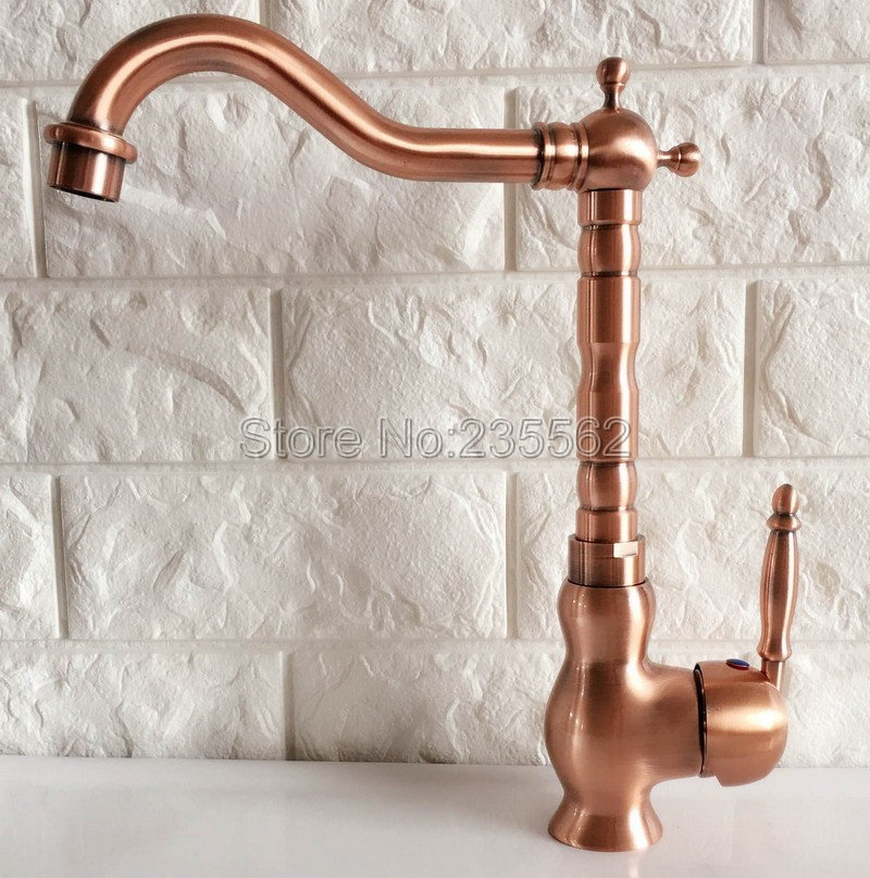Swivel Spout Antique Red Copper Bathroom Faucet Deck Mounted Single Handle Cold and Hot Water Taps Basin / Sink Faucets lnf407Swivel Spout Antique Red Copper Bathroom Faucet Deck Mounted Single Handle Cold and Hot Water Taps Basin / Sink Faucets lnf407