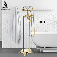 Bathtub Faucets Luxury Gold Brass Bathroom Shower Faucet Rain Handheld Euro Floor Stand Telephone Bath Shower Mixer Tap WF 5021K