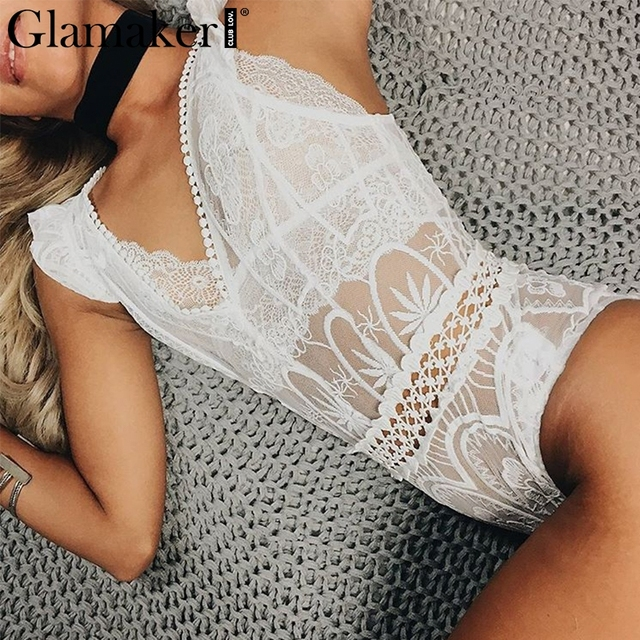 6c0d8e621c Glamaker Sexy lace bodysuit women tops Transparent mesh summer jumpsuit  romper Fitness party club jumpsuit female body suit new
