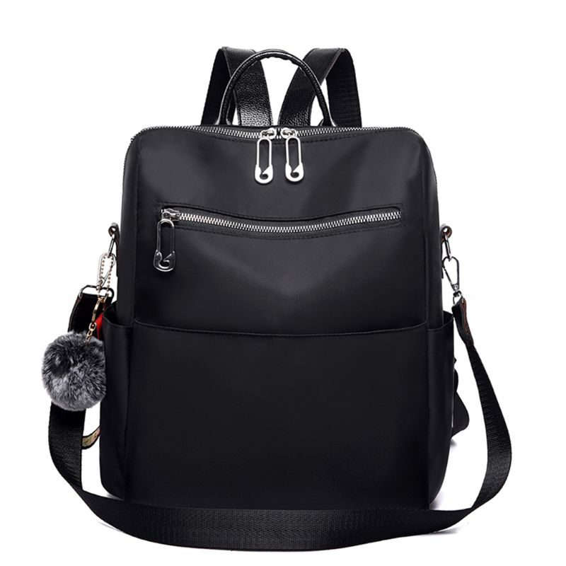 Zipper Solid Pattern Simple Casual Backpack Waterproof Nylon Anti-theft Lightweight Shoulder Bag Ladies Travel bags