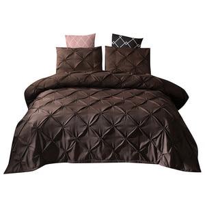 Image 1 - Yeni yatak nevresim ve yastık 3D baskılı mermer Headfull boyutu üç pasta (levha) yatak odası saten çarşaf