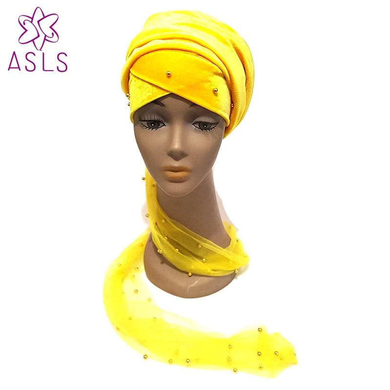 Gut Ausgebildete Freies Dhl Neue Luxus Gold Perlen Mesh Head Wrap Weich Samt Nigeria Extra Lange Turban Hijab Kopf Doppel Hände Schal Für Frauen