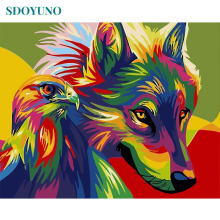 SDOYUNO 60x75cm Coloured Wolf and Eagle Frame Painting By Numbers DIY Home Decor Gift Modern Wall Art Paint By Numbers image