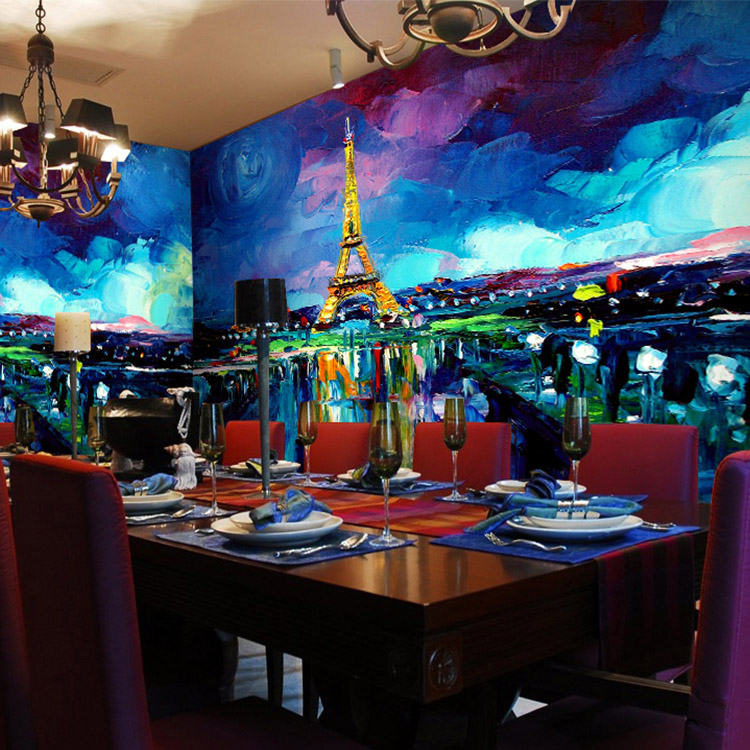Free Shipping 3D European abstract oil painting Paris tower city night scene large mural living room dining room wallpaper mural  free shipping large mural wallpaper villa living room ceiling european oil painting wallpaper