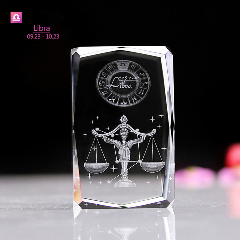 Libra Zodiac Sign Laser Engraved Crystal Led Table Lamp