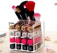 2016 Makeup Organizer Macaron Acrylic Cosmetic Storage Boxes Lipstick Rack Brushes Eyebrow Pencil Holder Free Shipping