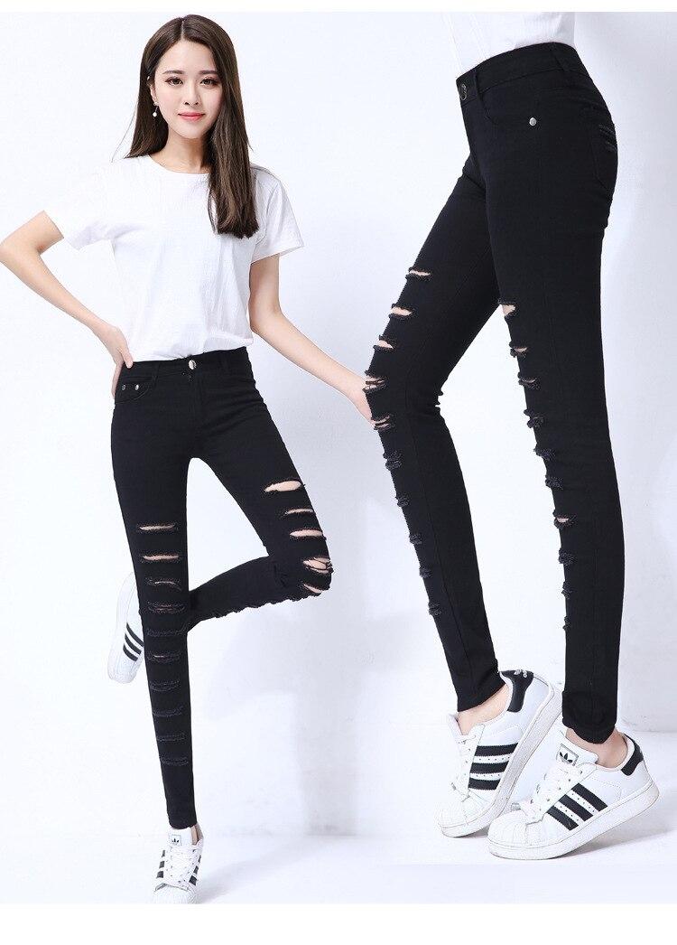 Delle signore di Stirata Jeans Strappati Slim Bianco Nero Skinny Jeans di Grandi Dimensioni di Marca Distressed Calsas Jeans Distrutti