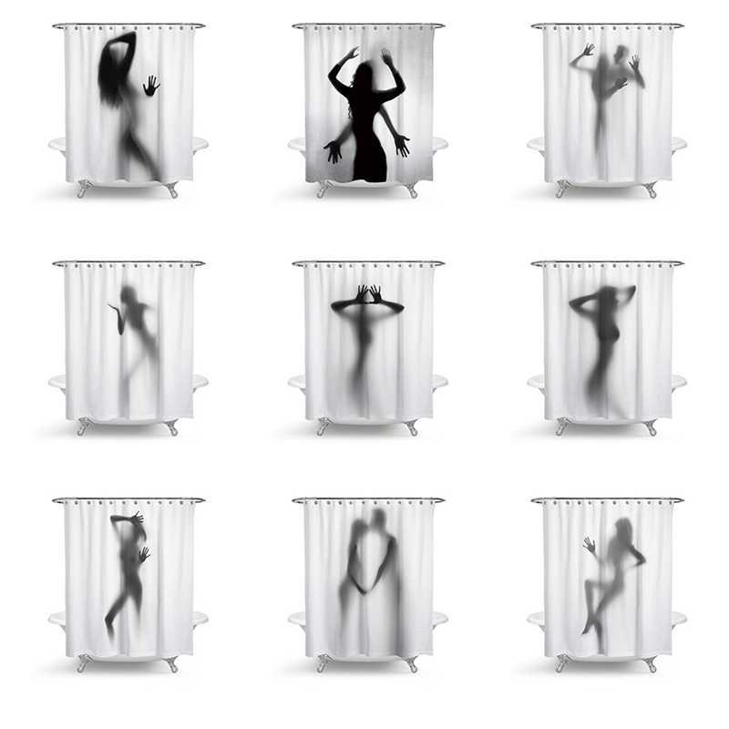 Moda Criativa Sexy Girl E Mulheres Silhueta Sombra Banho de Chuveiro Cortina de Banheiro Impermeável Cortina Decoração Da Casa