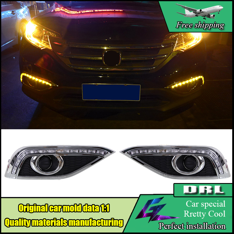 Car Styling LED Daytime Running Light For HONDA CR-V CRV 2012 2013 2014 LED DRL With Turn Yellow Signal Front Bumper DRL Lamp car styling front lamp for t oyota for tuner 2012 2013 daytime running lights drl