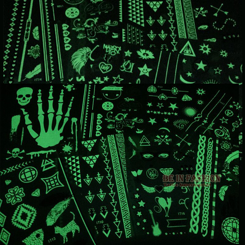 4pcs/lot Fashion Glow Tattoos Darkness Star Skull Flash Temporary Tatoo Sticker Sheets Fluorescent Luminous Shiny Glitter Tattoo