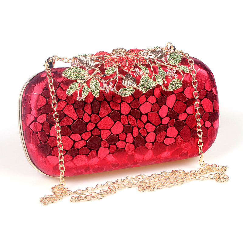 Flower Crystal Evening Bag Clutch Bags Rhinestones Wedding Handbags Clutches Lady Wedding Purse ...