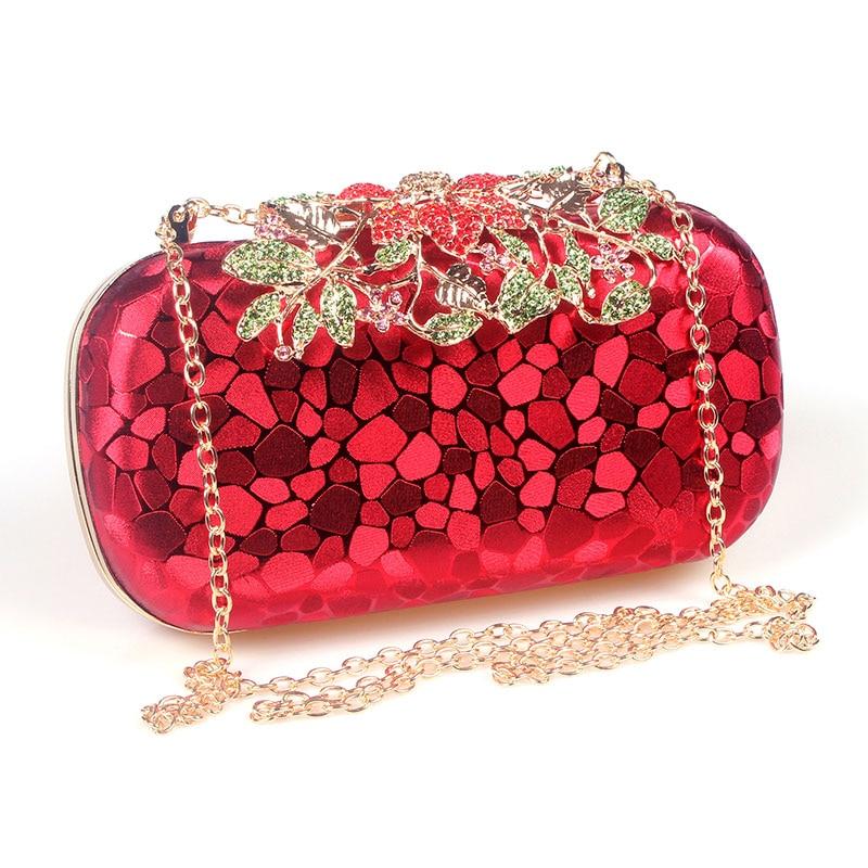 Flower Crystal Evening Bag Clutch Bags Rhinestones Wedding Handbags Clutches Lady Wedding Purse Silver/Gold/Red Evening Bag