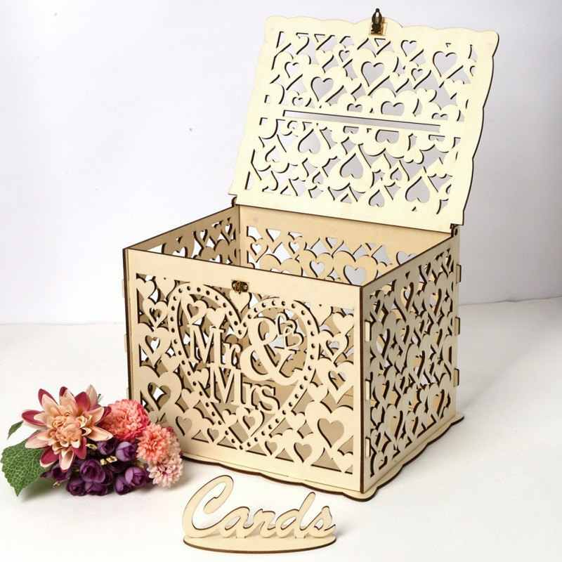 DIY Wooden Card Box Gift Wedding Romantic Wooden Money Box With Lock Beautiful Decoration For Wedding Birthday Party Hot