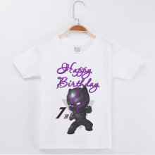 New Kids T-shirts Black Panther Printed Creative Happy Birthday Numeral Short T Shirt Cotton Child  Boys Fashion Party Tops Tee