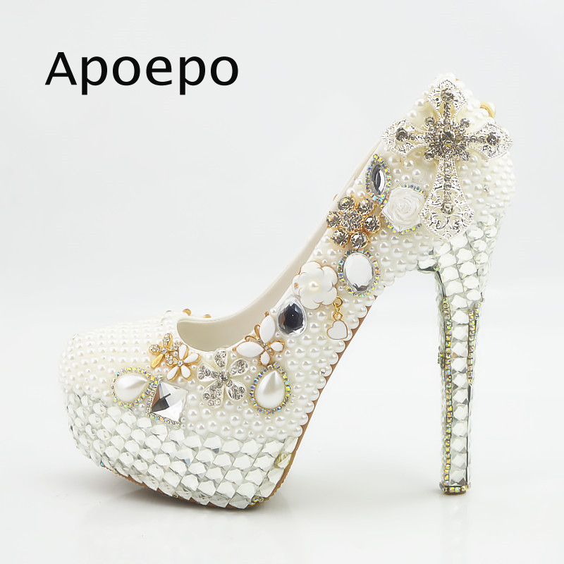 Apoepo Pearls and Crystal Beaded High Heel Shoes 2018 Sexy Platform Pumps Handmade Wedding Heels for the Bride Rhinestones heels thin heels pearls diamonds large ultra high heel platform shoe shoes of high quality for the dating and wedding ceremony
