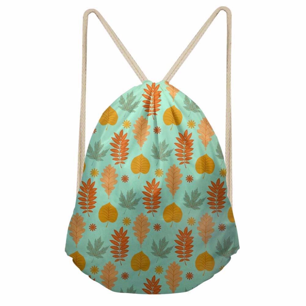 Noisydesigns Plant leaves contextual truth Printing Drawstring Bag Women Backpack Children For Teenager Girls Cinch Mochila