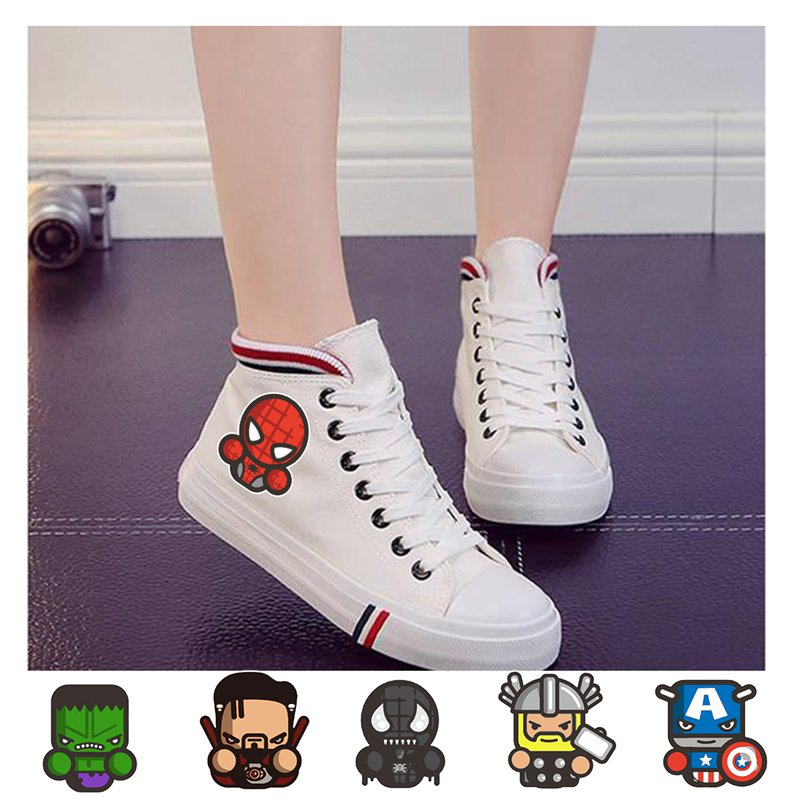 Marvel Hero Captain Spider Man Hulk Thor Pattern Women 39 s High Heel Canvas Student Custom Fashion Sports Shoes A193291 in Women 39 s Vulcanize Shoes from Shoes