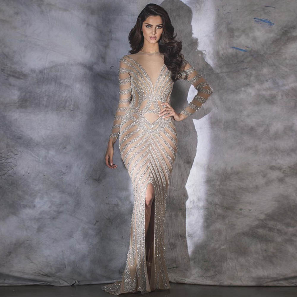 Fashion Nude Full Sleeve Evening Dress Long Robe De Soiree Mermaid Evening Gown Formal Dresses Slit Front