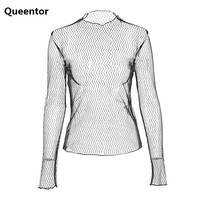 QUEENTOR 2017 Brand Korean Lace Mesh Top Women Wholesale