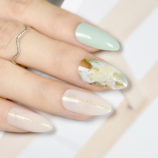 Shimmer Glitter Fake Nails Green Marble Design Kit Medium Stiletto ...