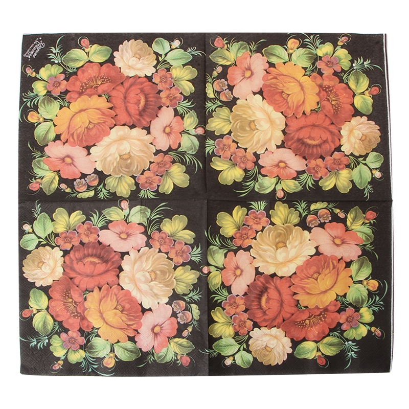 New High-grade Vintage Black Flower Paper Napkins Cafe&Party Tissue Napkins