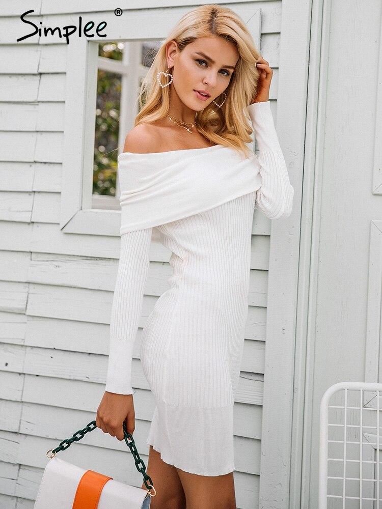 039e8797f4 Simplee Off shoulder knitting sweater dress women Sexy autumn winter dress  Bodycon long sleeve mini dress