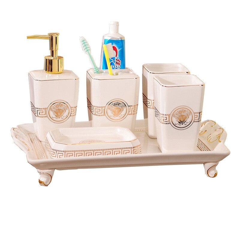 Ensemble d'accessoires de salle de bain distributeur de savon en céramique porte-brosse à dents gargarisme tasse cadeaux de mariage blanc fini 4/5/6 pièces ensemble
