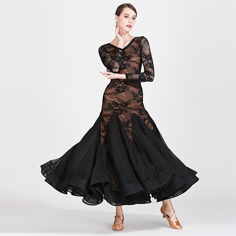 Standard  Ballroom Dance Dress 2019 Perspective Long Sleeve Robe Longue Femme Ballroom Dance Competition Dresses Ladies DQS2177