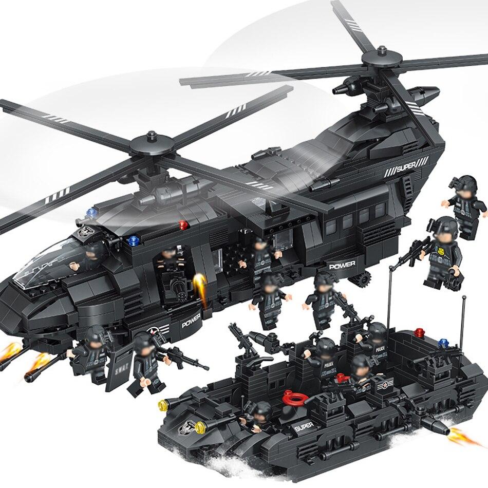 1351 pcs Grandes Blocos de Construção Define Equipe Da SWAT Helicóptero de Transporte Compatível Legoed SWAT Da Polícia Da Cidade de Presente Brinquedos para Crianças Crianças