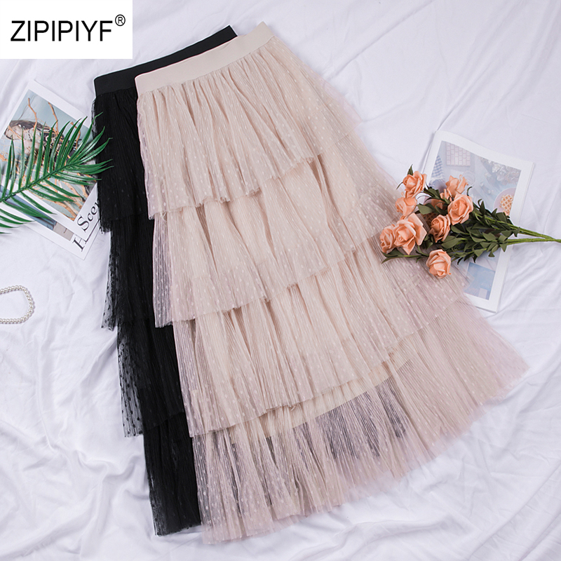 Sweet Cakee Layered Long Mesh Skirts Princess High Waist Ruffled Vintage Tiered Tulle Pleated ins Skirts