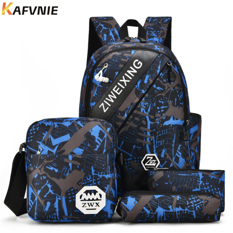 4 IN1 Male backpack bag set high school bag for boys one shoulder big student book bag men school backpack women 2018 Camouflage
