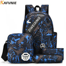 4 IN1 Male backpack bag set high school bag for boys one shoulder big student book bag men school backpack women 2018 Camouflage(China)