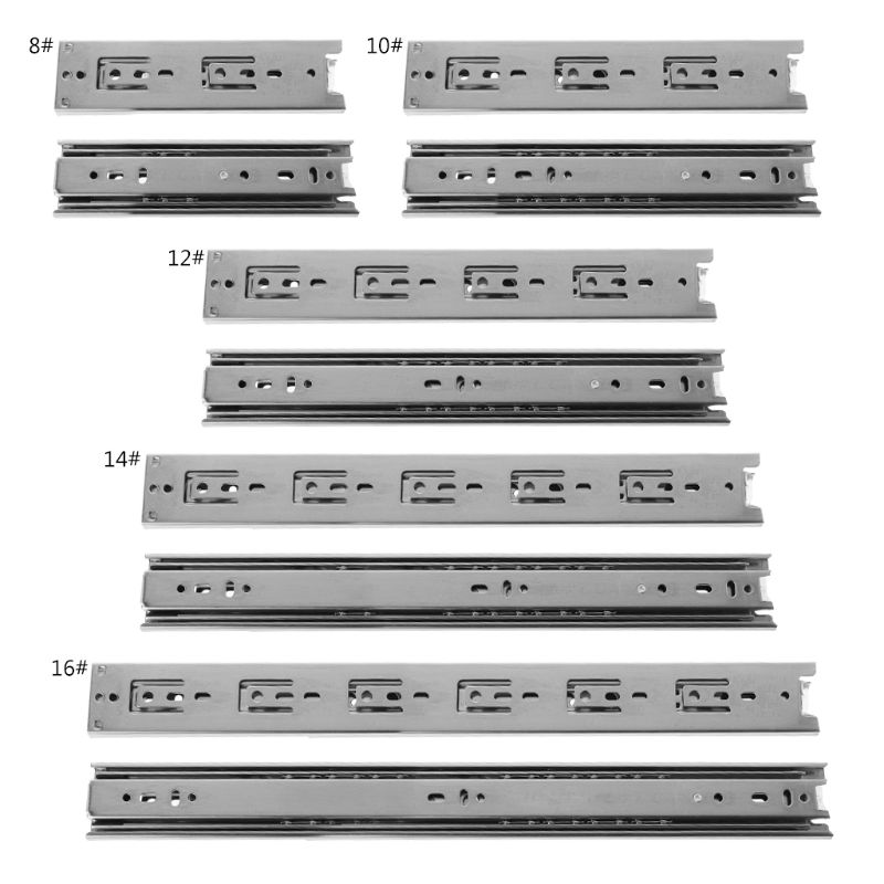 Three-section Drawer Slide Rail 8/10/12/14/16 Inch Furniture Hardware Fittings W329