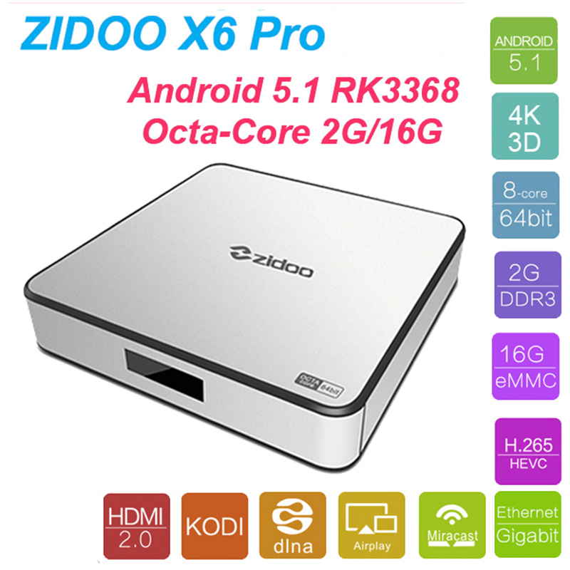 Zidoo X6 PRO Smart Android TV Box Android 5.1 RK3368 Octa Core 2G16G HDMI2.0 4K KODI XBMC H.265 DLNA Miracast WiFi Bluetooth 4.0 zidoo x6 pro wifi android tv box oversea versions hd 4k 2k h 265 rk3368 bluetooth xbmc unblock kodi 2g 16g 3d octa core 1000m