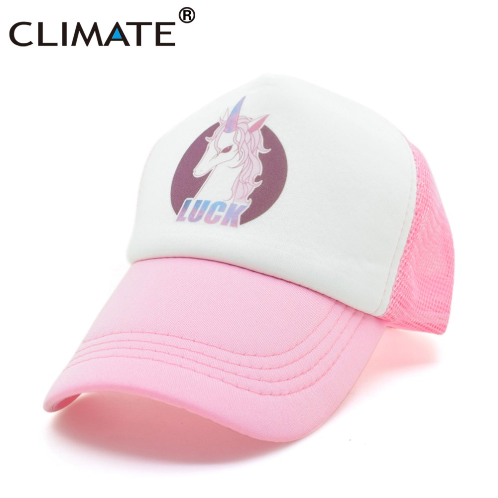 bf7b24bd3 CLIMATE Women Girl Unicorn Luck Pink Mesh Summer Cool Caps new Youth ...