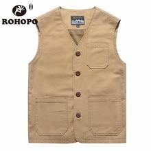 ROHOPO Cotton Vest Man 2019 6xl 7xl 8xl Oversize Water Washed Safari Casual Sleeveless Jacket Vneck Pockets Tooling Vest Men