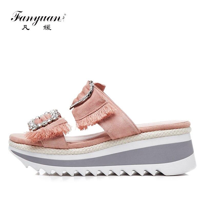 Fanyuan/танкетке Летние тапочки Замшевые хрустальные горки Для женщин Босоножки на платформе Вьетнамки повседневная женская обувь sandalie